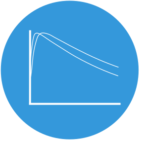 Icon of a graph with multiple descending lines